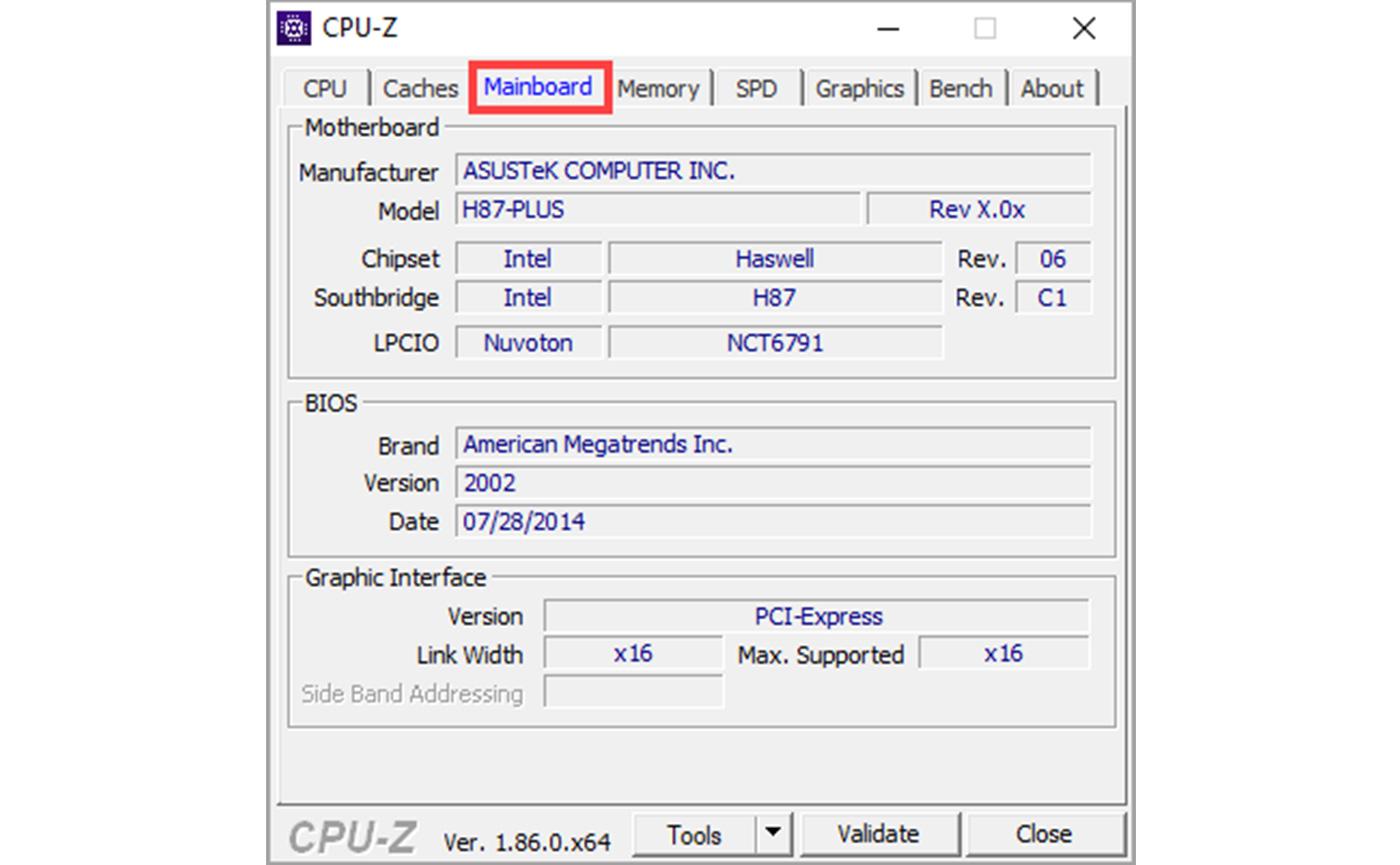 CPU-Z для просмотра свойств ноутбука