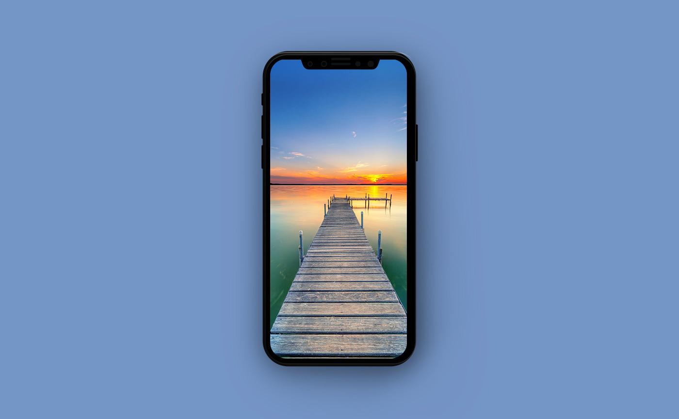 Туристические обои для iPhone - выход на озеро