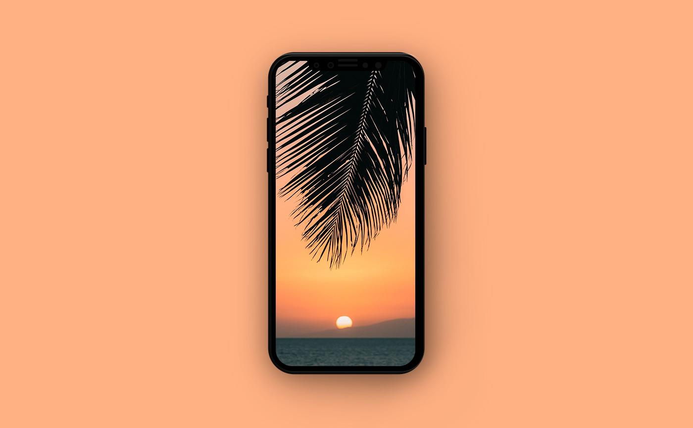 Обои на iPhone - закат над осторовом