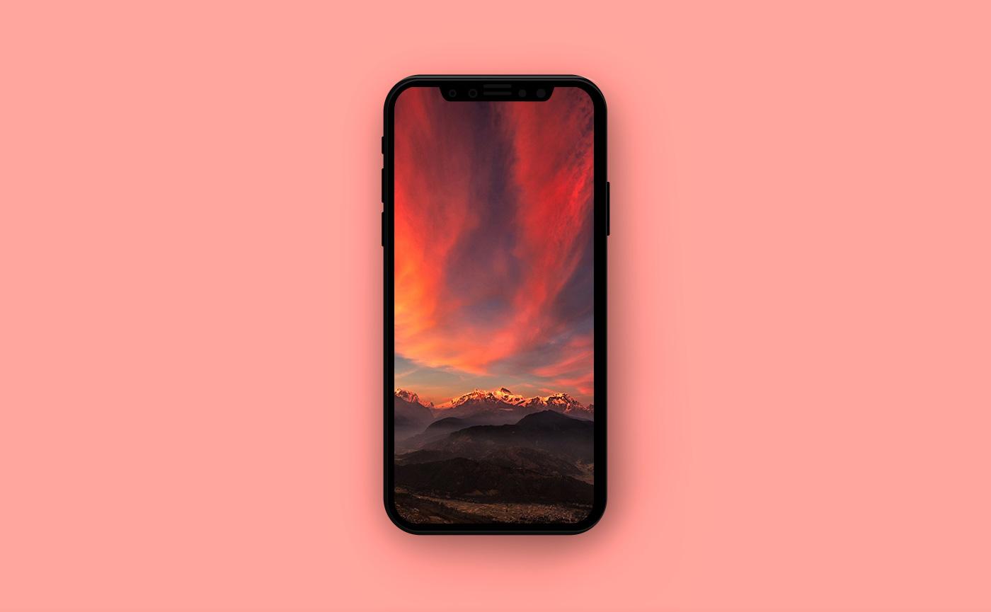 Горные обои для iPhone - закат на горном склоне