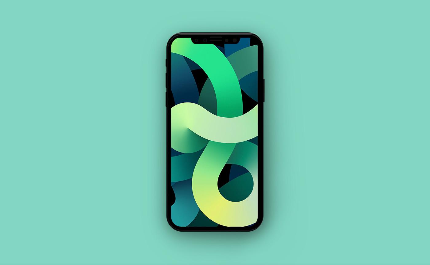 Обои для iPhone в стиле Apple - зелёные абстракции