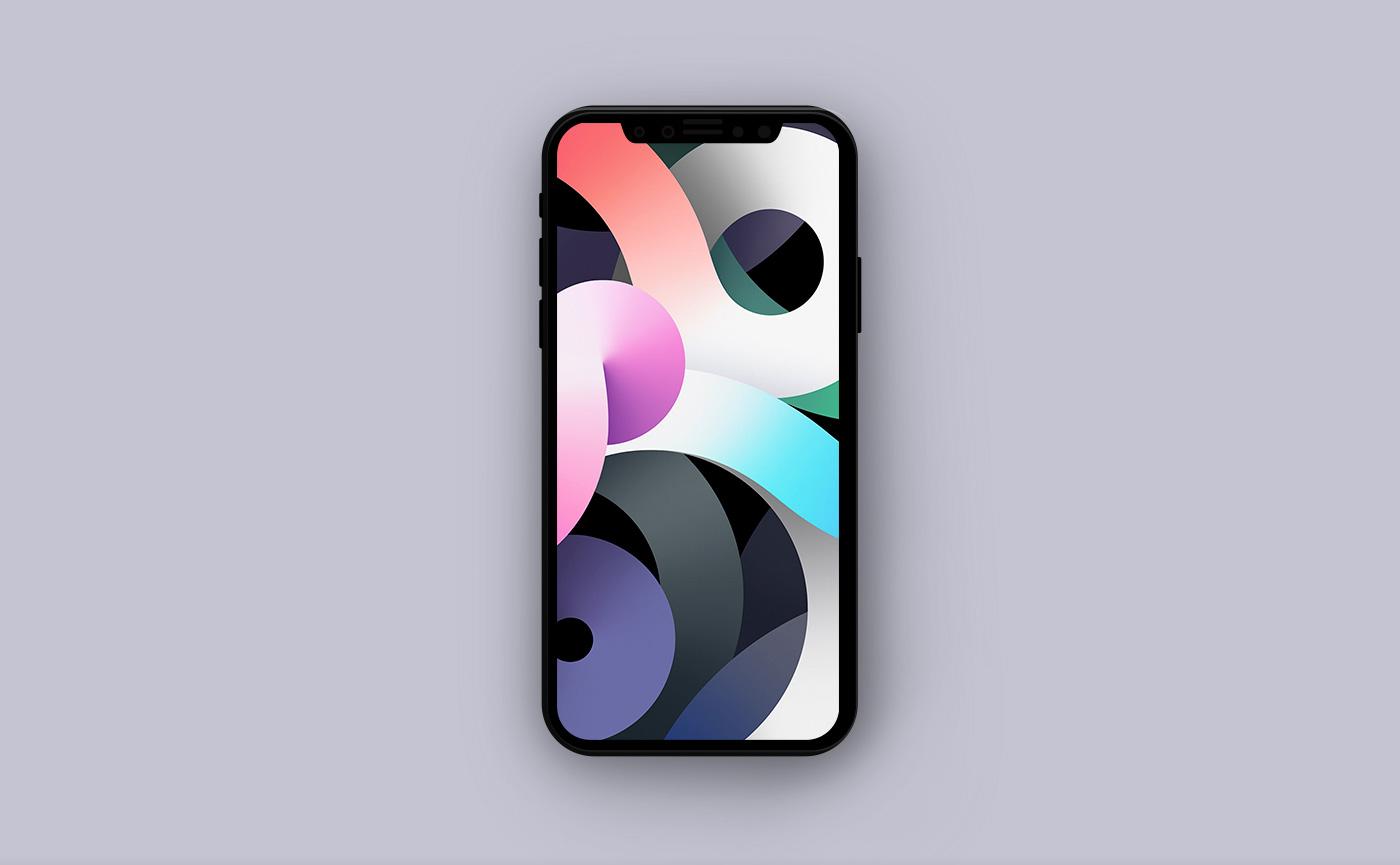 Обои для iPhone в стиле Apple - разноцветные полосы