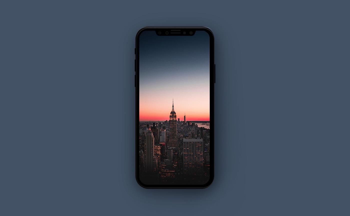 Обои для iPhone в оранжевых тонах - Нью-Йорк