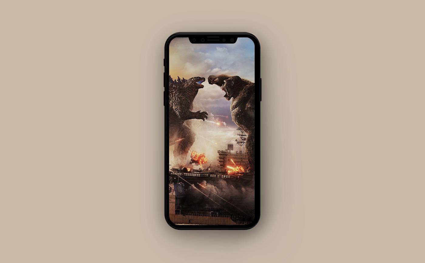 Киношные обои для iPhone - Годзилла и Конг