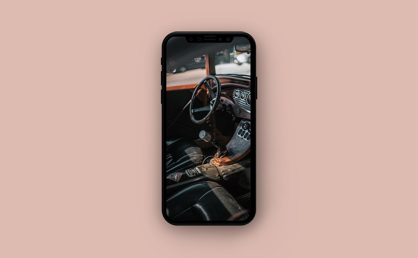 Летние обои для iPhone - ретро-автомобиль