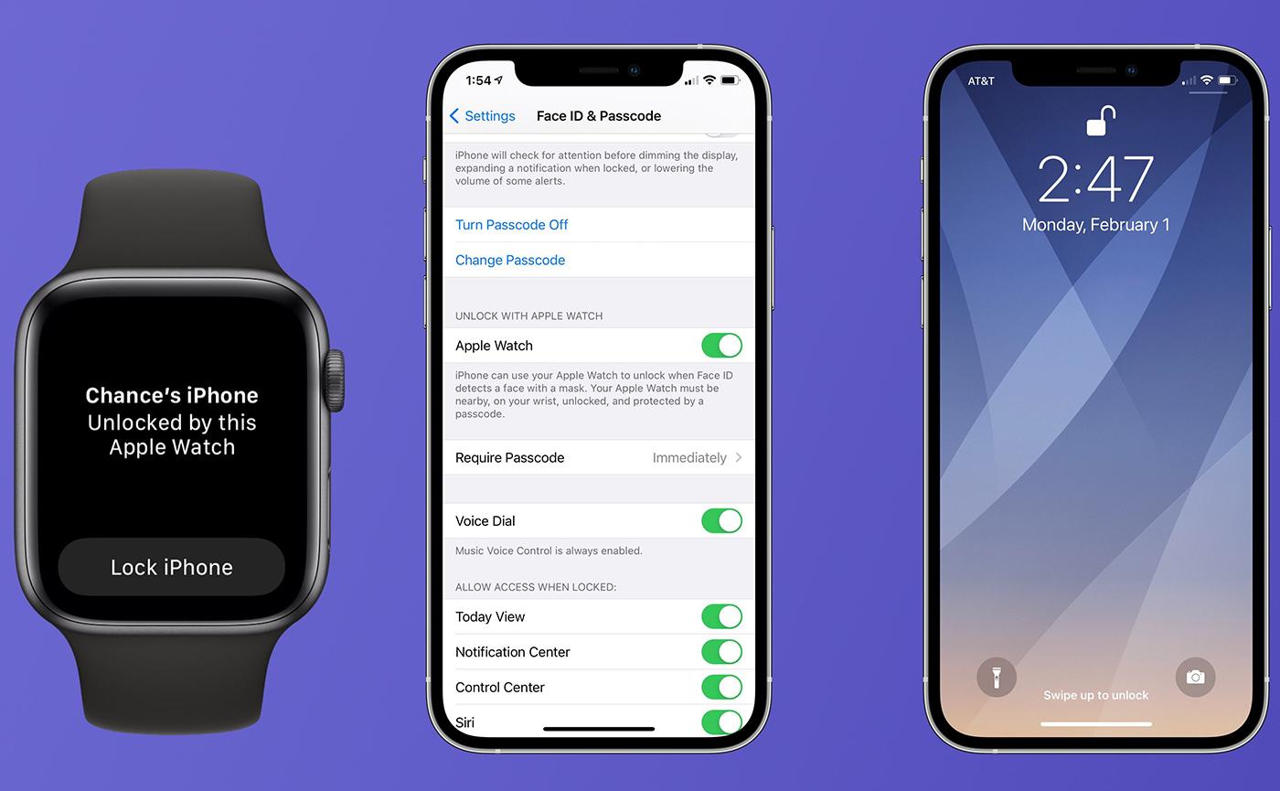 разблокировка iPhone через Apple Watch